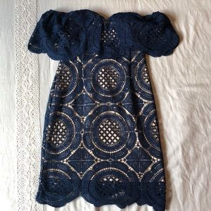 Lulu's Bellissimo Navy Lace Off-the-Shoulder Dress